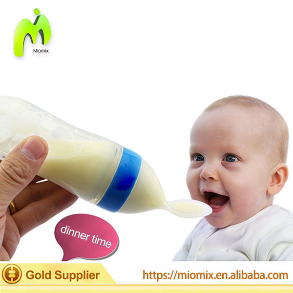 Silicone Infant Feeding Bottles with Spoon and Hygienic Cover