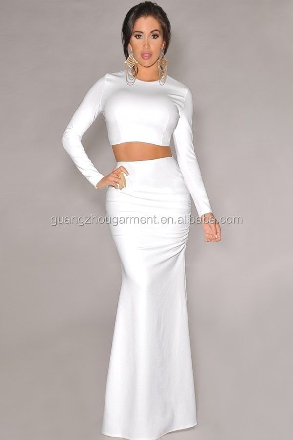 Sexy Mermaid Maxi Skirts Long Sleeve Two Piece Bodycon Crop Top ...