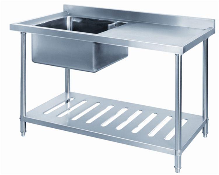 De acero inoxidable fregadero de la cocina de lavado de mesa con ...