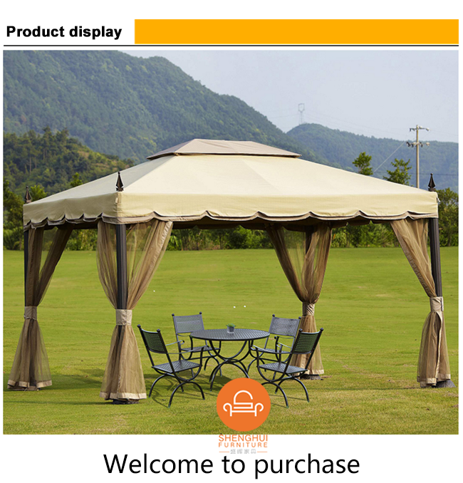 hot selling 3x3M 3x4M garden metal aluminum frame rome gazebo garden pavillion permanent tent outdoor with double roof