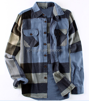 Fancy Mens Flannel Shirts Big Check Shirt Men Fashion Slim Fit