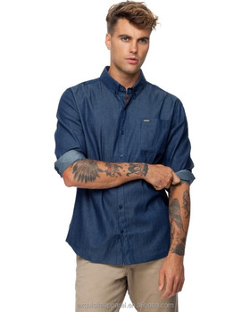 08a56780ae6 Men s 100% Cotton Dark Blue Denim Long Sleeve Acid Wash Denim Shirts ...