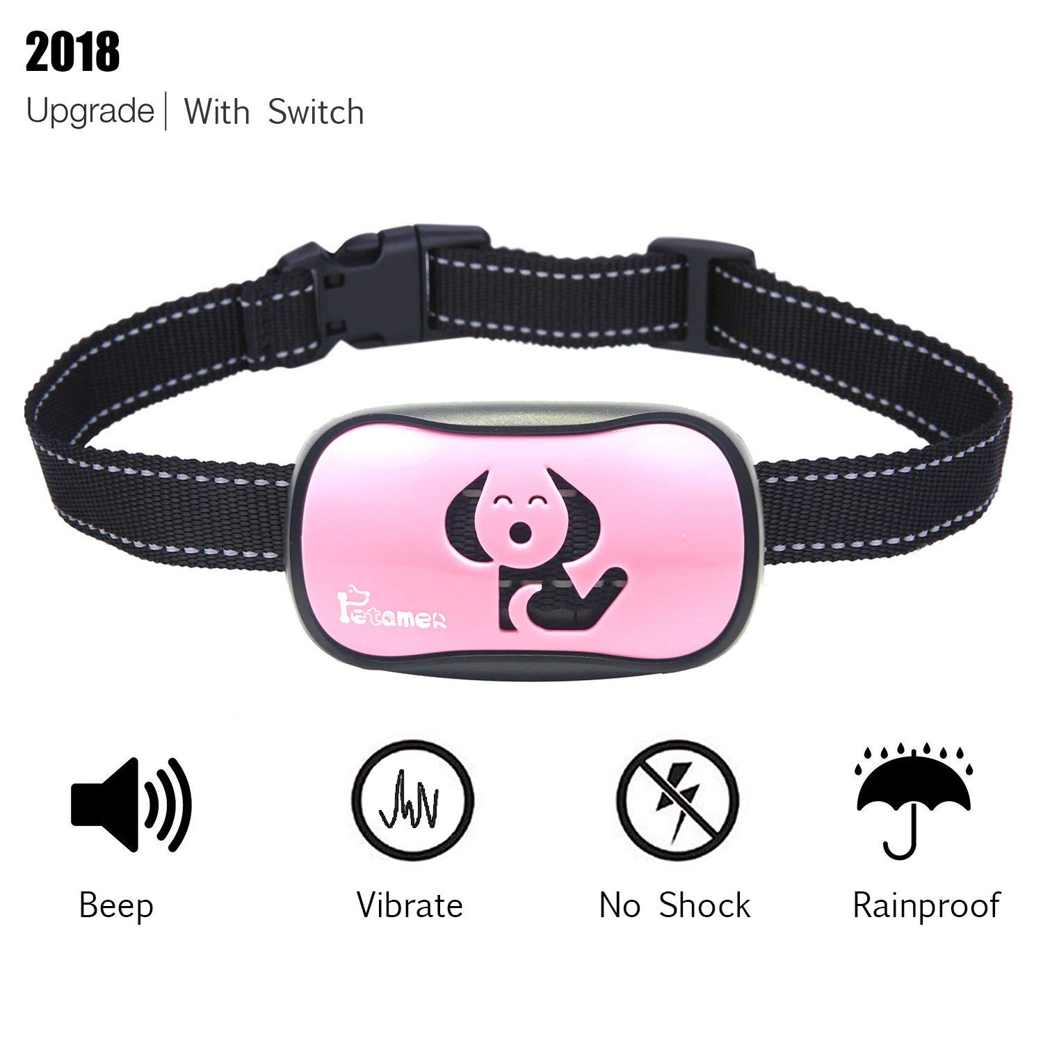 PETAMER ZuZu Bark Collar [New Version With Swith] Automatic Anti Bark Dog Training E Collar,Safe & Humane - No Shock - No Harm - Waterproof Vibrate Barking Control Devices for Small Medium Large Dogs