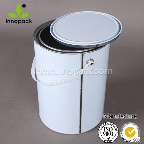 white 1 gallon metal paint can container with handle and lid cover buy paint container paint. Black Bedroom Furniture Sets. Home Design Ideas