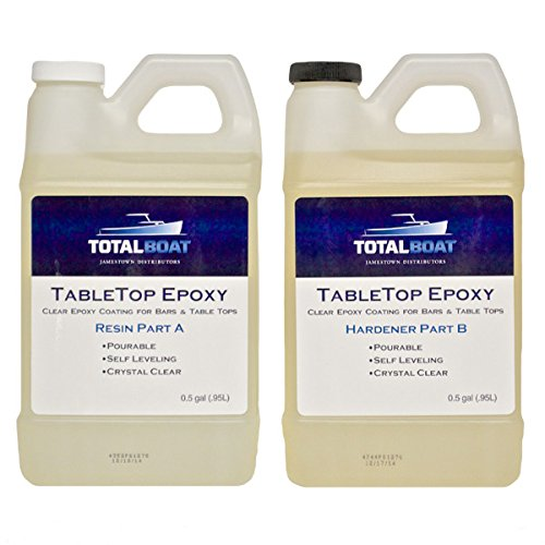 TotalBoat Table Top Epoxy Resin 2 Quart Kit | Crystal Clear Coating for Bars, Countertops & Tables