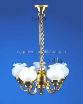 Dollhouse Miniature Decorative Hanging Ceiling Chandelier 12v Or Led Lights Qw24057