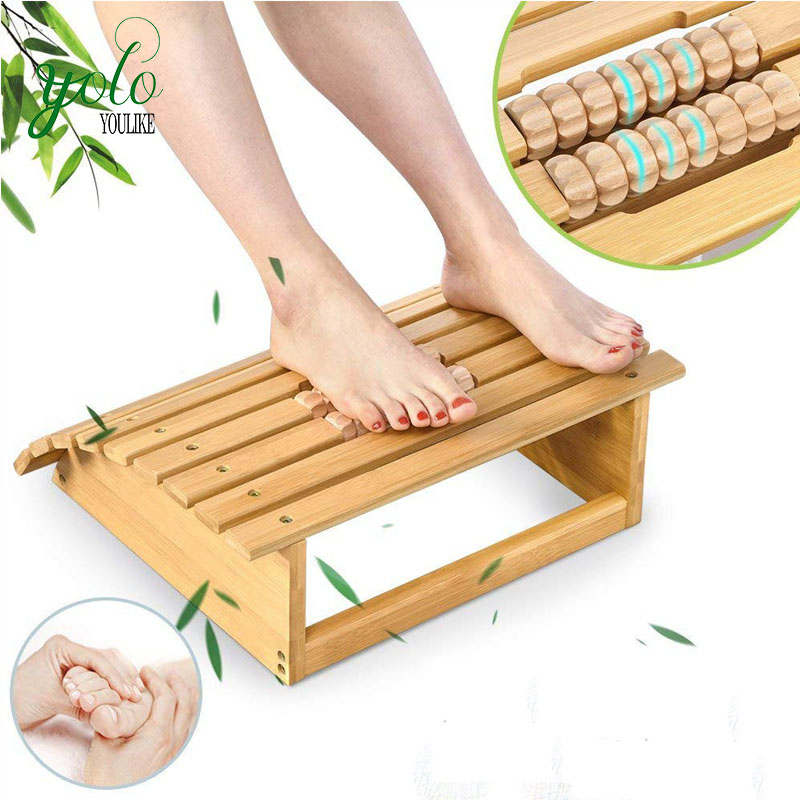 Ergonomic Bamboo Foot Stool Under Desk Footrest With Massager Rollers For Office Home Buy Bamboo Foot Stool Product On Alibaba Com