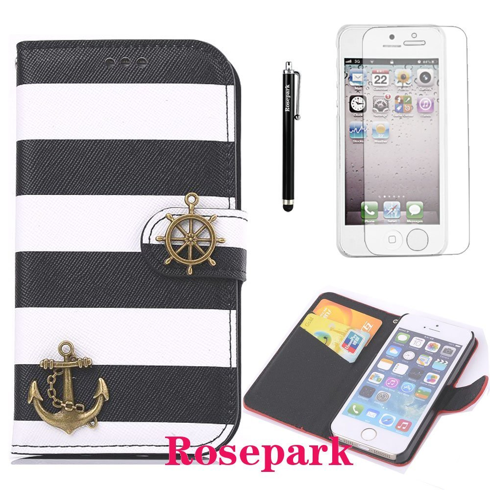 Rosepark(TM)Corsair Decorated Rainbow PU Leather Flip Case With Credit Card Slot Fit For iPhone 5 5S(Black)