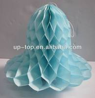 Ice blue honeycomb paper bells for decoration