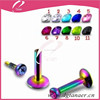 Colorful Ball Lip Ring Bar Labret Lip Stud Body Piercing Jewelry for magnetic lip piercing