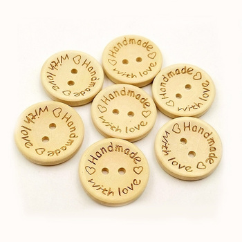 100pcs per bag custom 15mm 20mm 25mm 2 hole round laser engraved logo wood buttons