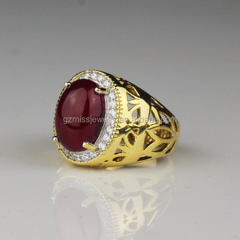 Miss Jewelry fancy design single ruby stone gold ring for men
