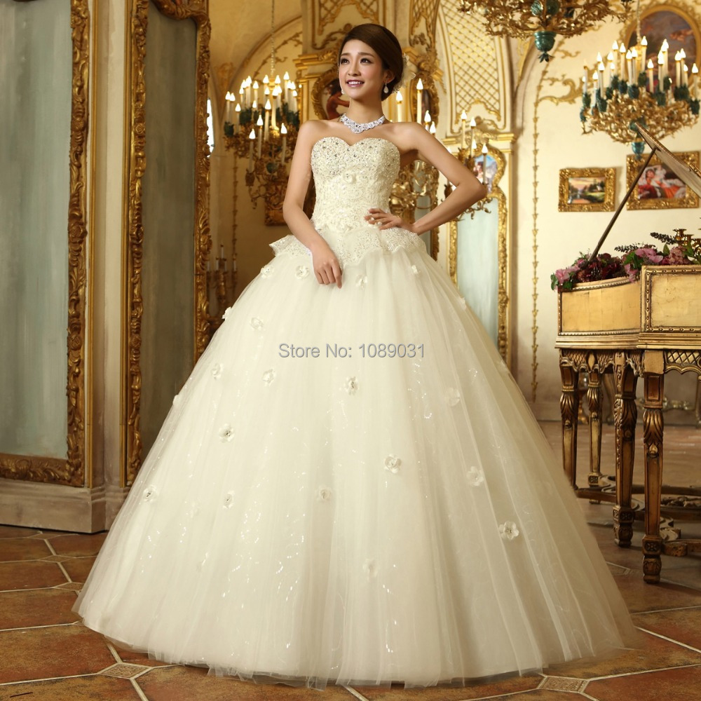 2016 Latest Wedding Dresses White/Ivory Sweetheart Beading