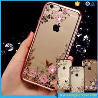 Luxury Clear Crystal Diamond Soft TPU Silicone Phone Case Cover For iPhone SE 6 6s Plus
