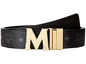 MCM Claus Reversible Gold Buckle Belt Black Men's Belts