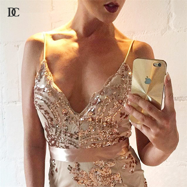 Women Summer Sexy Vintage Evening Bandage Bodycon Party Gold Sequins Dress