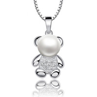 2016 Cute Bear Pendant Necklace with High Quality Imitation Pearl Fashion Women Necklace Jewelry
