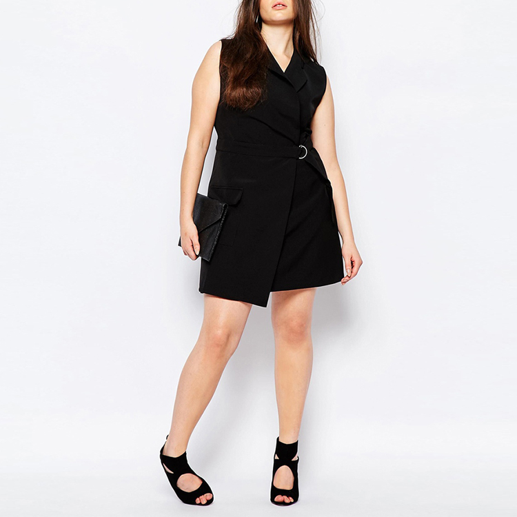Sleeveless black plus size fat women casual dress
