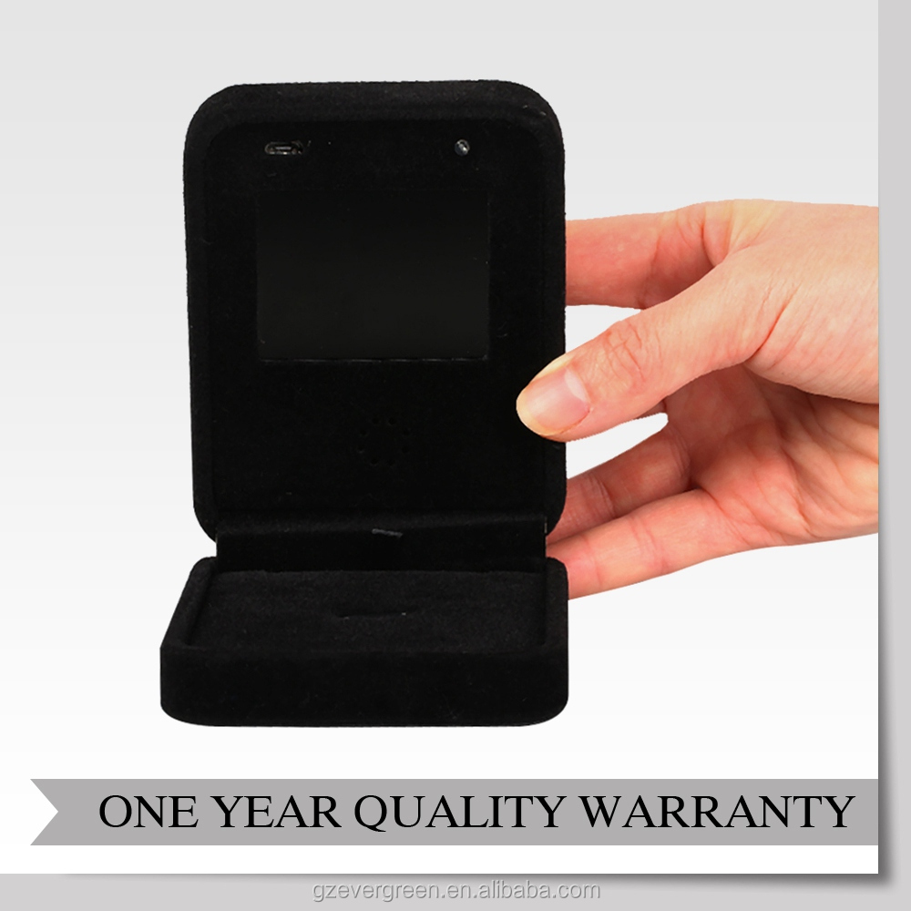 Velvet jewelry box with LCD screen video player