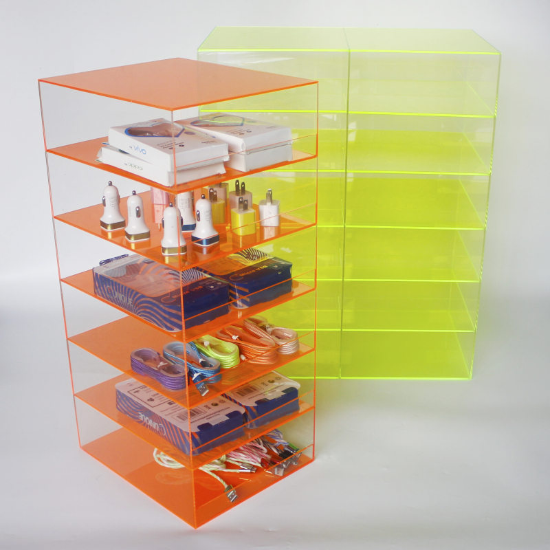 custom plastic acrylic 6 shelf cell phone accessories display, USB cable Charger display, Samsung accesory display stand
