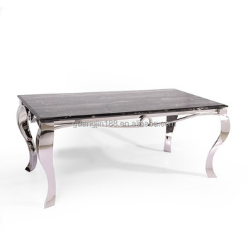stainless steel base marble top 8 seater dining table