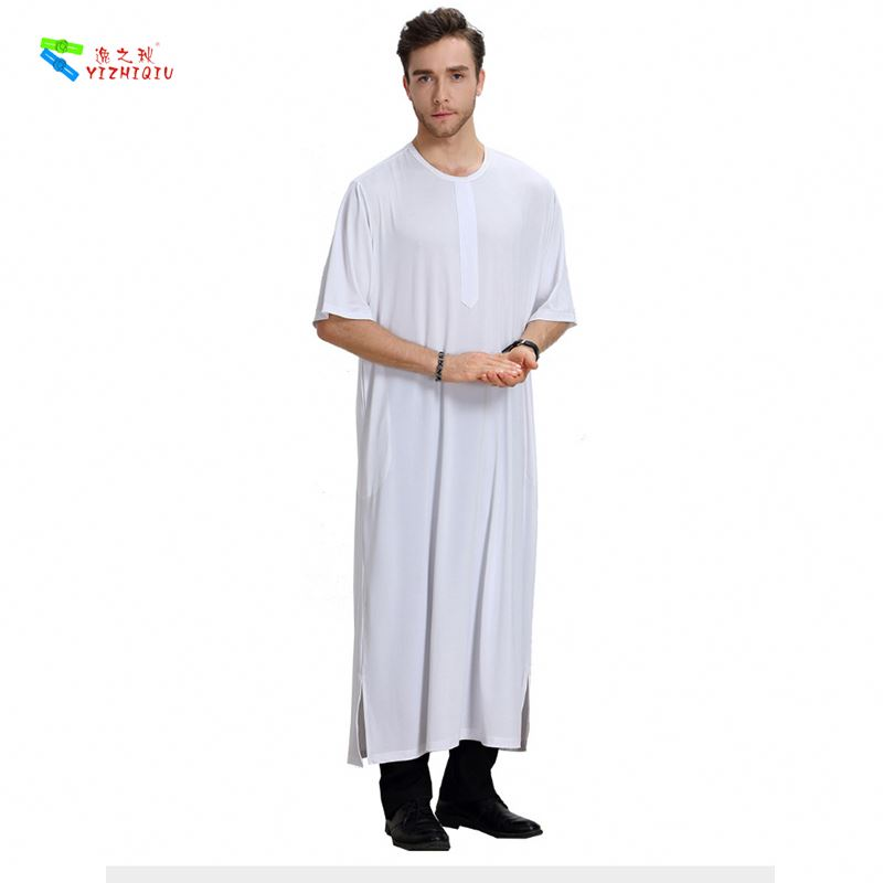 YIZHIQIU Islamic Short Sleeve Cropped Collar Robe Muslim Men Clothing