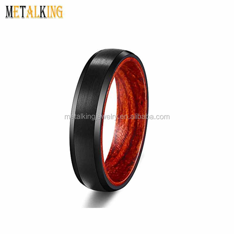 6mm Black Plated Tungsten Carbide Ring Mens Womens Wedding Band with Wood Sleeve Beveled Edges,Comfort Fit