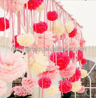 Hanging Paper Tissue Pom Flower for Wedding Decorations