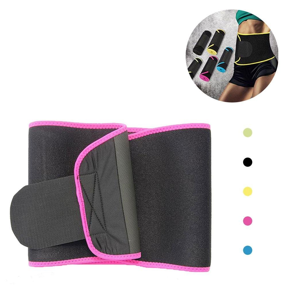 Aolvo Slim Fit Waist Trainer Adjustable Stomach Wraps Thermo Shaper Stomach Fat Burner Neoprene Waist Belt Sweat Waist Trainer Trimmer Belt Body Shaper Weight Loss for Women & Men - M