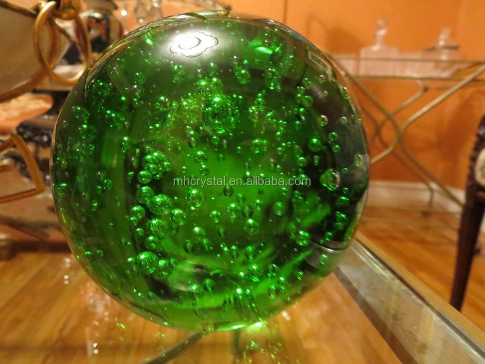 vintage art glass green bubbles crystal ball paperweight mh q0123