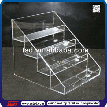 Tsd A888 Retail Store 4 Tier Transparent Acrylic Display Shelf Clear Acrylic Table Top Display