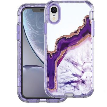 Laser Marble Hybrid 3 In 1 Drop Protection Armor Full Body Protective Defender Case For Iphone XR