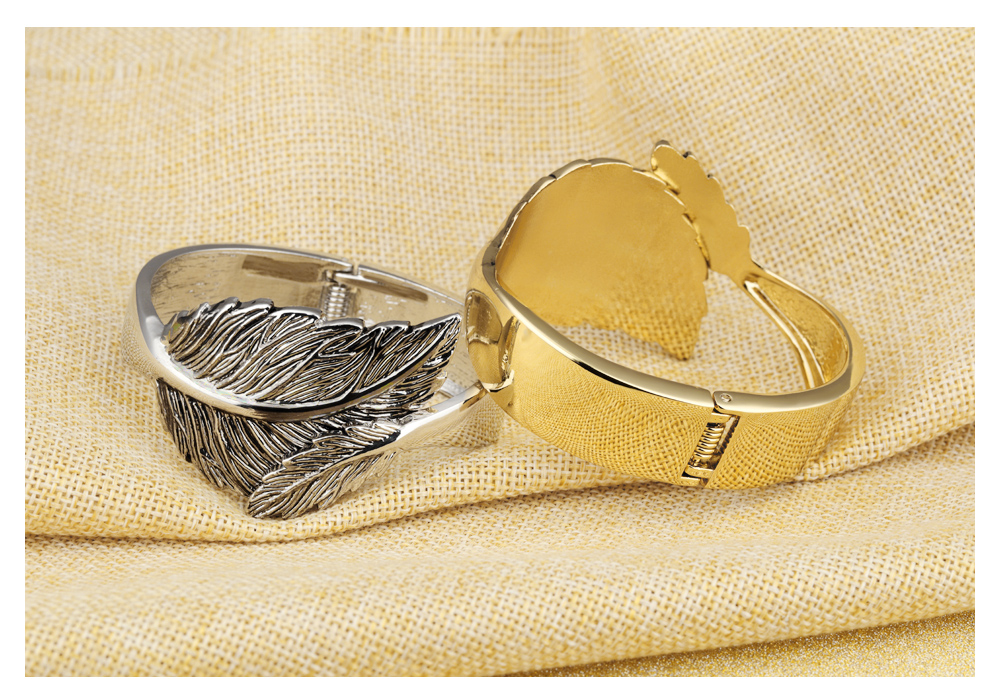 Retail Online Shopping Women Copper Jewelry Silver Plated Leaf Bangle