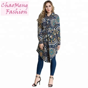 2015# Wholesale casual tops shirt printing women chiffon blouse moroccan turkish button tunic for muslim fat ladies