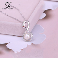 New Design Women Christmas Gift Jewelry 925 Sterling Silver Fantasy Swan Inlaid Zircon Pearl Charm Pendant Necklace