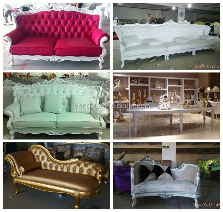 wooden white color classic chaise lounge wedding sofa furniture
