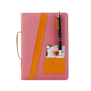 A5 thick cloth linen hardcover stationery notebook journal lined paper with pocket handle pen holder