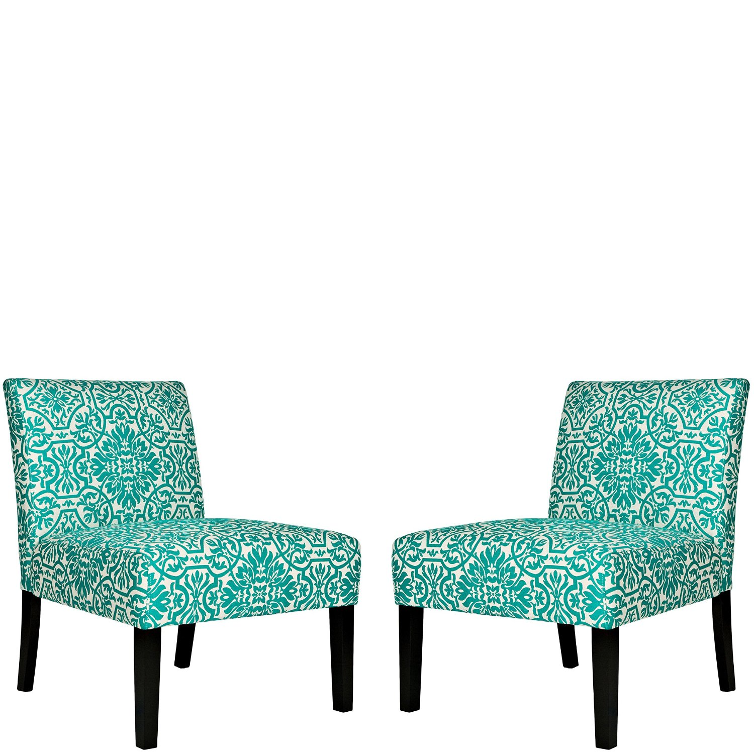 Get Quotations · Angelo Home Bradstreet Damask Turquoise Blue Armless Chairs  (Set Of 2)
