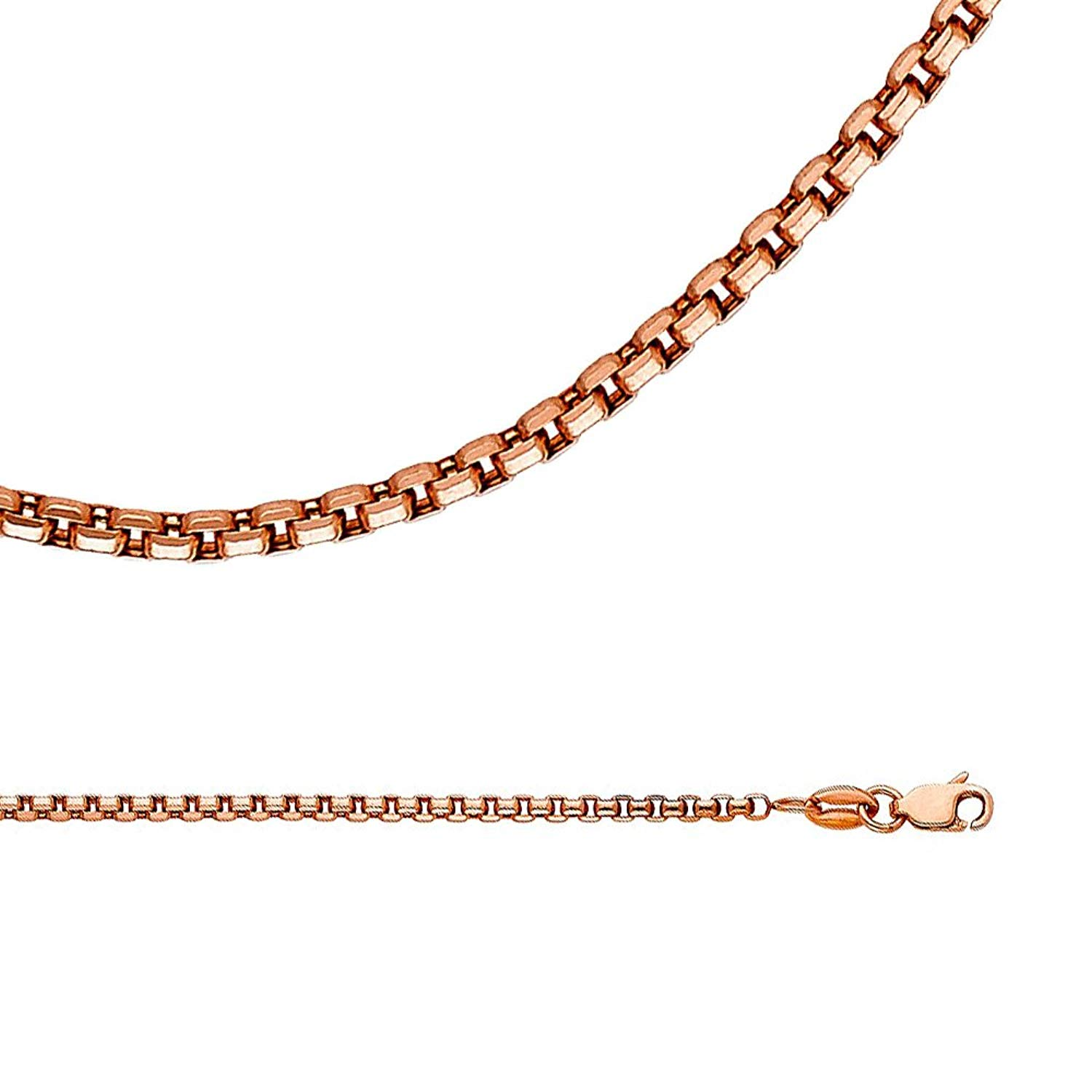 14K solid rose pink gold 0.6mm box chain necklace 16-24