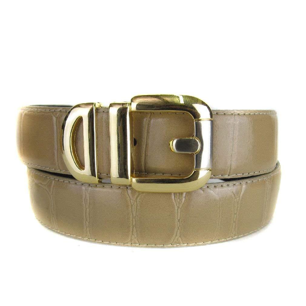 Tan Bonded Alligator Skin High Quality Fashion Dress Belt