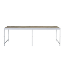 Scandinavian style modern antique steel base white powder coating reclaimed wood furniture oak parquet top dining table