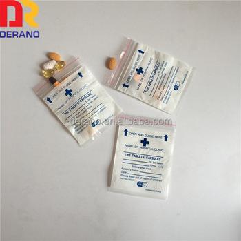 Alibaba Custom Ldpe Plastic Clear Dispensing Envelope Bag Medicine Zipper For Pill Packaging Small Bags