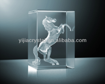 3d Laser Inner Engraving Crystal Horse Figure For New Year