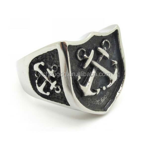 Black Stainless Steel Cool Biker Rock Retro Anchor Ring