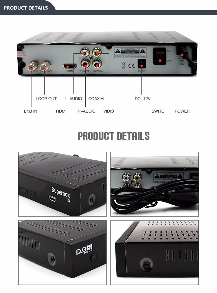JUNUO shenzhen set top box factory high quality 1080p full hd dvb-s2 digital satellite receiver