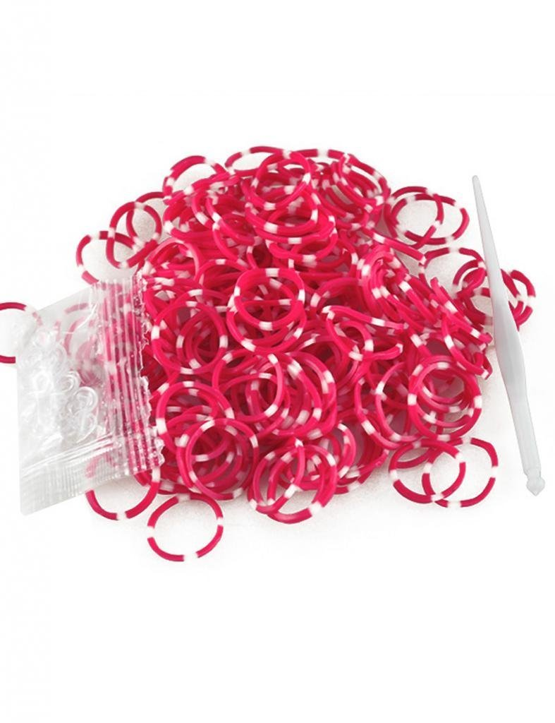 185-200pcs Polka Dot Band Rubber Loom Rainbow Color +S Clps 15pcs+Loom Tool 1 Piece Rubber Color Red