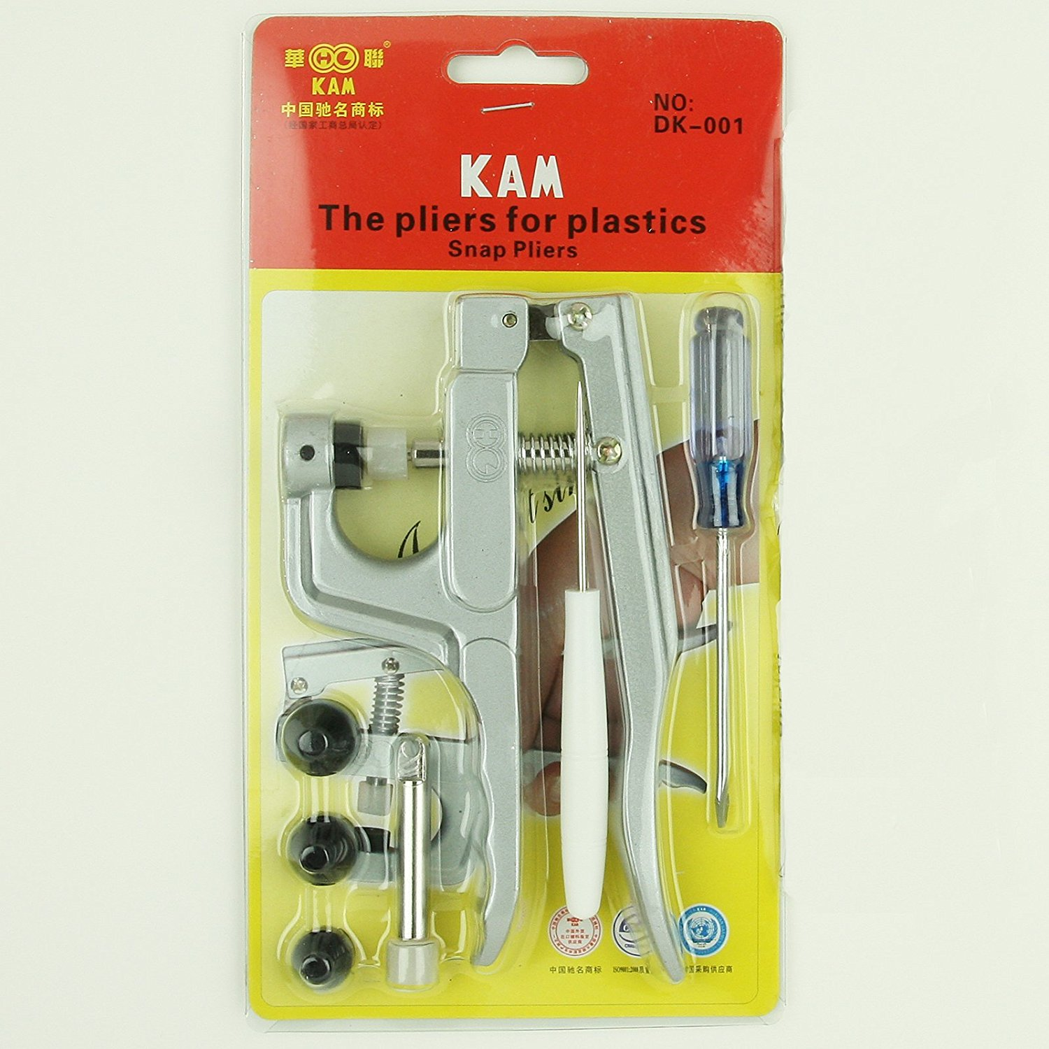 KAM Snap Press Plier Hand Setter Tool and 4 Dies Sizes (T3, T5, T8A and T8B) for KAM Plastic/Resin Snaps use to make Cloth Diapers/Bibs/Mama Pads/PUL and More