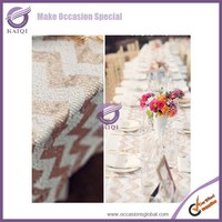 18647 party round embroidery chevron sequin runner and table cloth