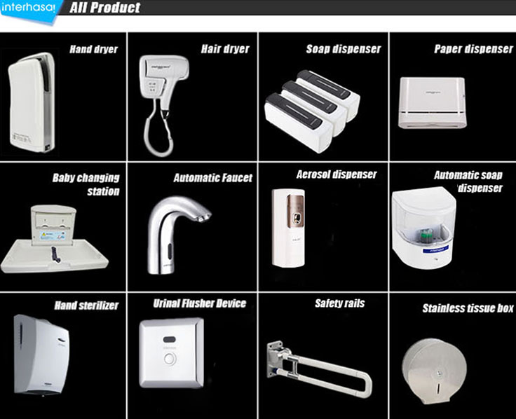 Wall mounted good quality toilet sensor hotel bathroom  autozmatic factory mini hand dryer