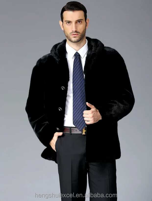 Fashionable men casual mink fur coat with hood